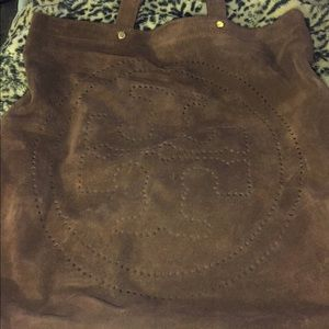 Tory burch large brown suede tote